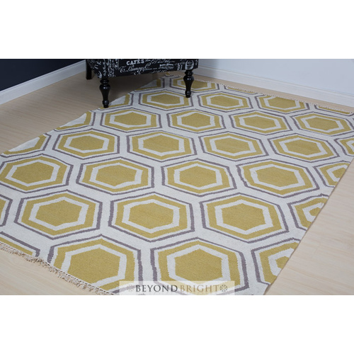 Sweden 36 Wool Kilim Rug - Yellow - 160x230