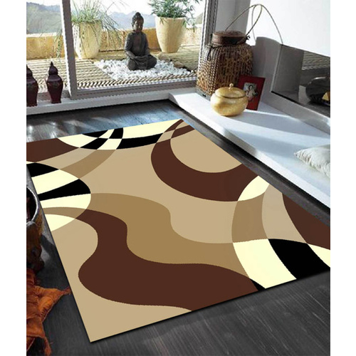 Sterling Beige and Brown Waves Rug - 190x280cm