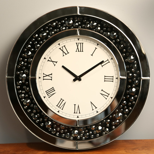 Jewel Diamond Round Mirror Wall Clock - 50cm - Black Diamonties