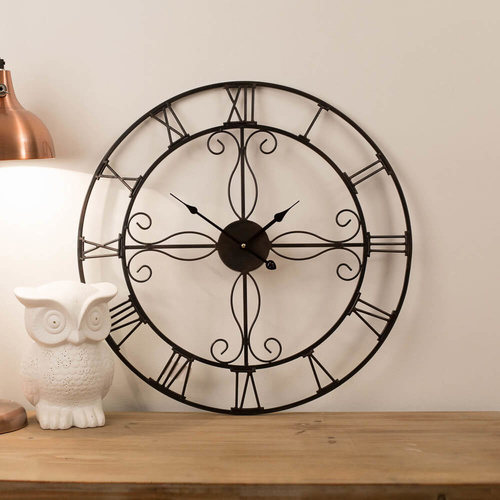 Ornate 60cm Wrought Iron Wall Clock