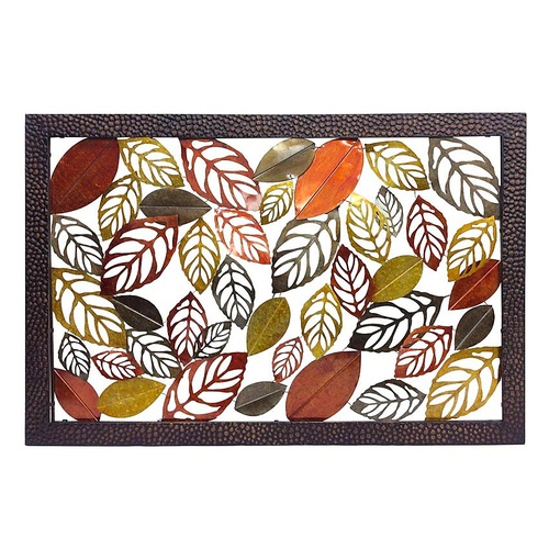 Classic XL Wall Art Leaves - Metal & Iron, Multicoloured - 152x102cm