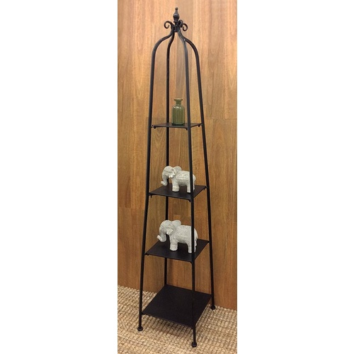 Imperial Bakers Stand - 4 Tier - Metal and Iron, Matte Black - 37x177cm