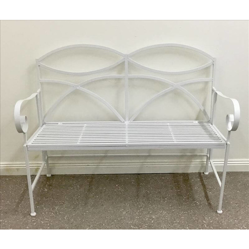 Francis Industrial Outdoor Metal Bench - White - 117x93cm
