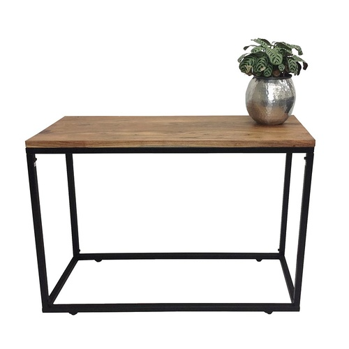 DISCONTINUED - Lulu Console Rectangular Iron Timber Hall Table - Black - 110cm