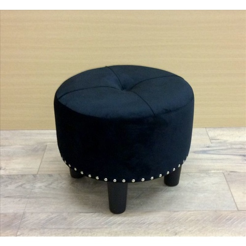 Oli Upholstered Round Stool with Studs - Velvet, Black - 40cm