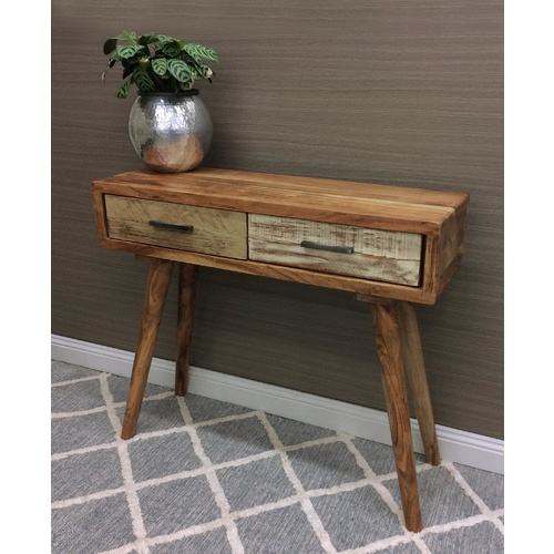 Abby Hallway Console Table - 2 Drawers - Acacia Wood, Ply - 90cm