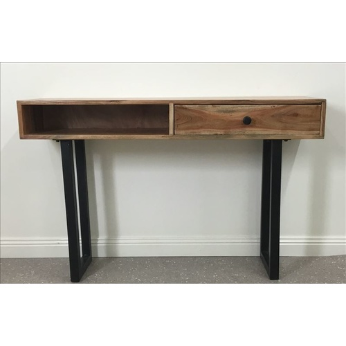 Lahoma Desk - With Drawer and Shelve - Acacia Wood and Iron Black Base - 118x75cm