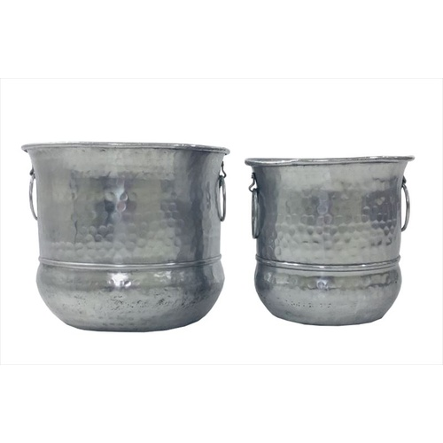 Set of 2 Grand Aluminium Pot & Planters - Silver - 31x31x26cm