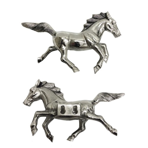 Ronson Horse Wall Hanging - Aluminium, Antique Nickel - 23x16cm