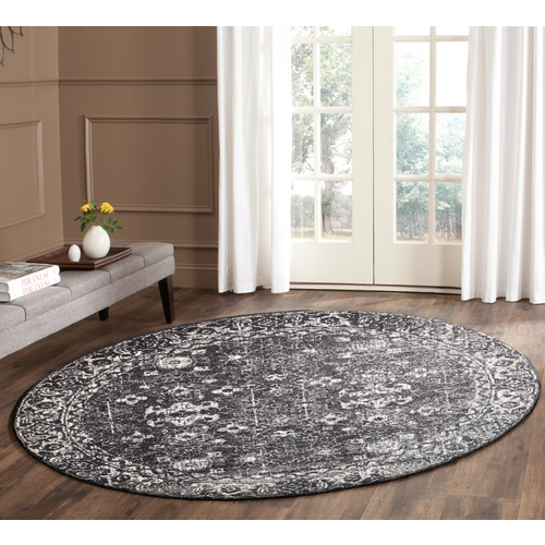 Evolve Estella Transitional Round Rug - Charcoal