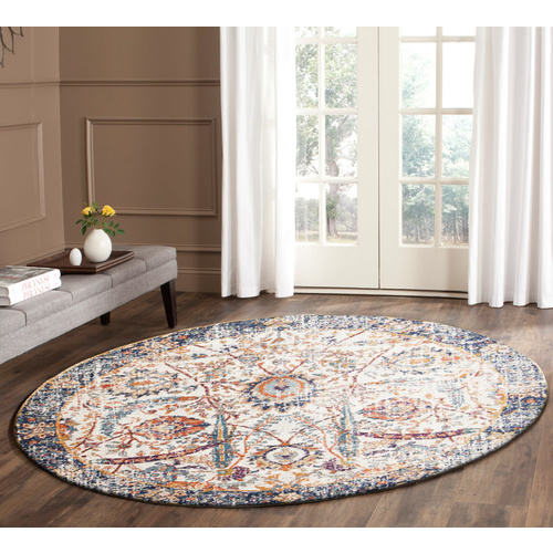 Evolve Peacock Transitional Round Rug - Ivory