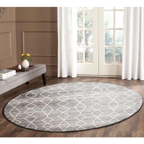 Evolve Remy Transitional Round Rug - Silver - 150x150cm