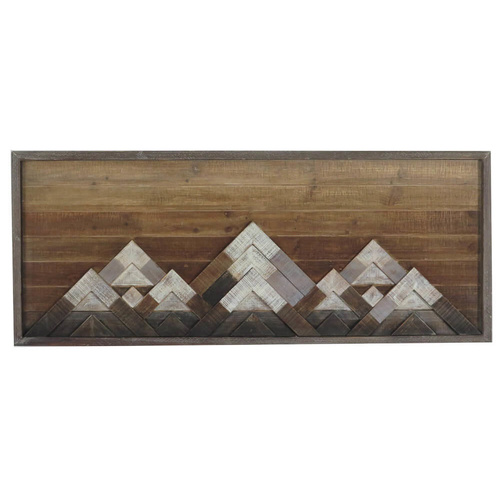 Abstract Snowy Mountains Wall Tribal Art Decor - Pinewood - 114x42cm