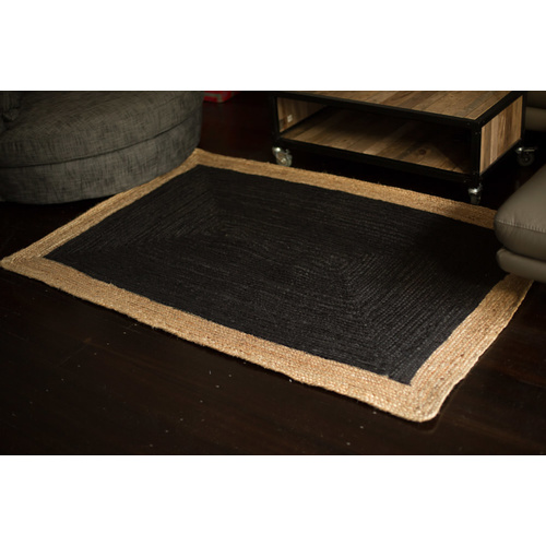 Phoenix Jute Cotton Rug - Black - 75x240cm