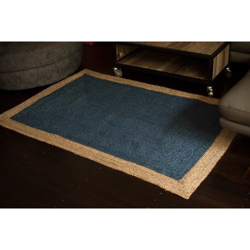 Phoenix Jute Cotton Rug - Indigo Blue