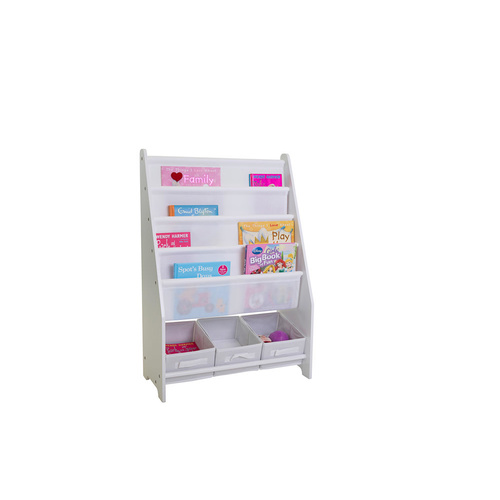 Mia Kids Display Bookcase - 4 Shelves with 3 Storage Tubs - 62x90cm
