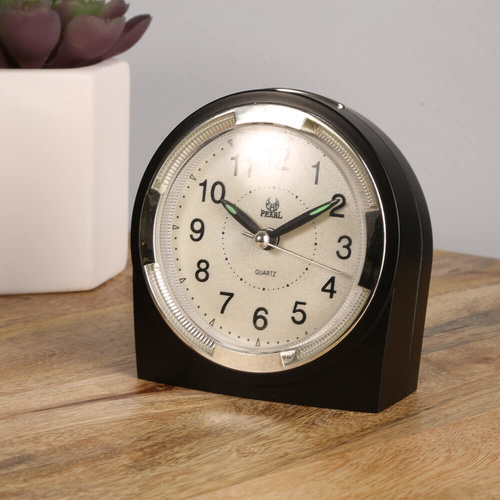 Pearl 102 Silent Alarm Clock with Snooze, Light, Luminous - Black - 10cm