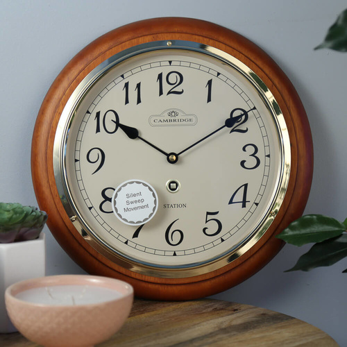 Cambridge 31cm Station Matte Arabic Silent Wall Clock - Dark Brown