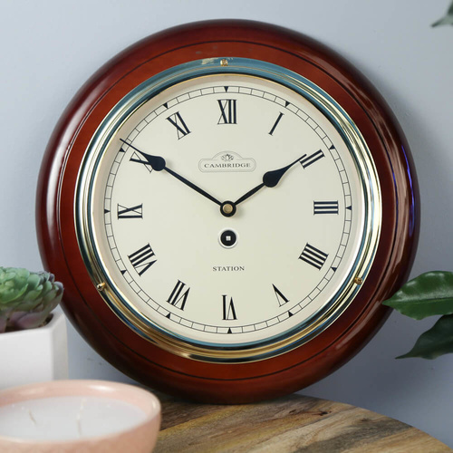Cambridge 28.5cm Station Roman Piano Paint Silent Wall Clock - Dark Brown