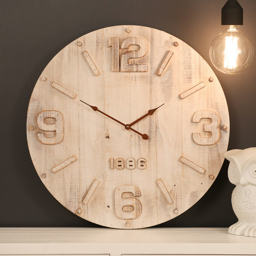 60cm 1886 Distressed White Raised Numbers MDF Large Timber Wall Clock