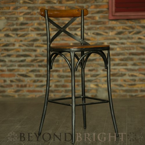 Zoe Bar Stool - Brushed Silver - Bar Height