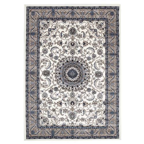 Sydals Medallion Border Rug - White with Beige