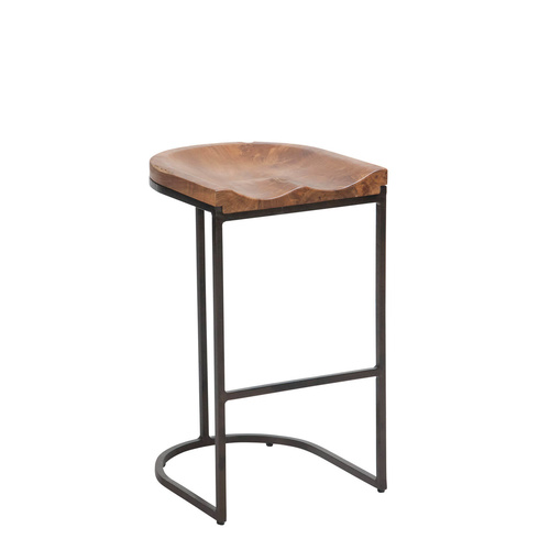 2x Tropica Stella Counter Moulded Bar Stools - Metal, Teakwood - 65cm
